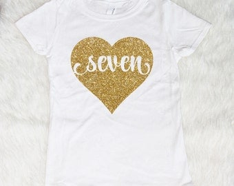 Seven year old birthday Shirt, Seven Shirt, Birthday Girl Shirt, Birthday Shirt, 7 Shirt, Gold Glitter Birthday Shirt Seven Birthday Outfit