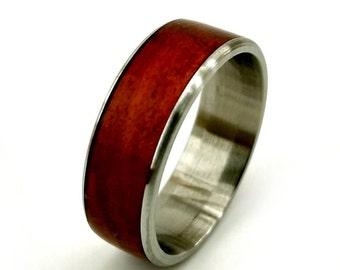 Redheart Wood Ring, Red Wood Ring, Red Ring, Wood and Titanium Ring, Redheart Ring, Dark Wood Ring, Womens Wedding Band, Mens Wedding Band