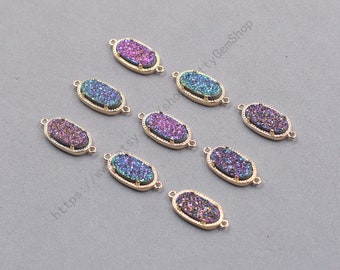 16mm Double Bails Rainbow Druzy Connectors -- With Electroplated Gold Edge Druzzy Drusy Geode Dainty Charms Supplies Handmade YHA-343