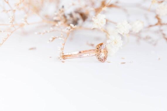 Morganite 14k gold classic engagement ring, solitaire morganite engagement ring, vintage inspired twig engagement ring