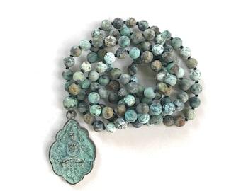 Buddha Pendant Mala Beads, African Turquoise Mala Necklace, Knotted 108 Bead Mala, Buddha Necklace, Yoga Meditation Beads, Yoga Jewelry