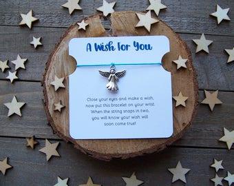 Angel Wish Bracelet, Silver Wish Bracelet, Angel Friendship Bracelet, Angel Jewelry, Angel Charm Bracelet, Angel Cord Bracelet, Angel Gift