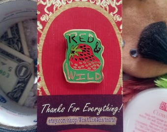 Red and Wild Strawberry Social Enamel Pin - To Wong Foo Inspired - LGBTQ Pride - Drag Queen Lapel Pin
