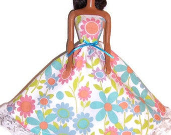 Fashion Doll Clothes-Light Teal/Coral Floral Strapless Dress