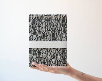 Handmade notebook, japanese bookbinding, minimal notebook, japanese traditional pattern notebook, made in barcelona, geometric notebook
