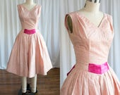 Cassiopeia dress | vintage 50s dress | pink embroidered 1950s party dress | Minx Modes | 1950s silk organza dress | 50s pink fit & flare