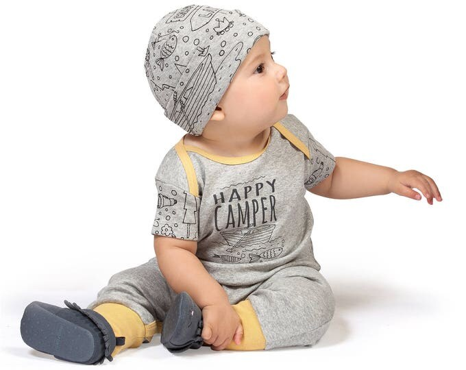 Newborn Baby Boy Outfit Summer, Baby Boy Onesie Outfit, Boy Romper, Baby Happy Camper Bodysuit, Infant Short Sleeve Baby Romper