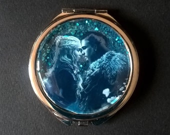 "Pocket mirror or bag with glitter  "" Jon & Daenerys "" - Game of Thrones"
