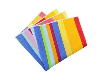 Mens Pocket Square.Rainbow Pocket Squares.Multi Color Wedding Handkerchief.Matching Set.Wedding Favors.Gifts