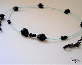 Black Eyeglass lanyard/Black Eyeglass Strap/Eyeglasses Holder Cord/Skulls/Glasses Chain/Black Glasses Lanyard/Glasses Loop/Eyeglass Necklace