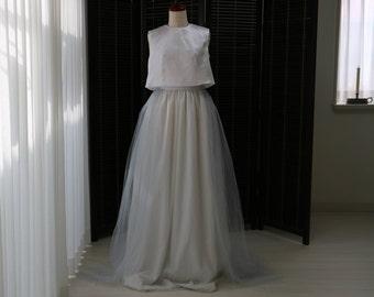 Pale grey floor length tulle skirt,wedding tulle skirt,bridal tulle skirt,romantic wedding dress,simple wedding dress,wedding separates