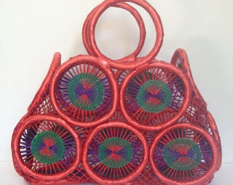 Hand Woven Tote/Purse/Basket - Triangle Design - Red/Green/Blue