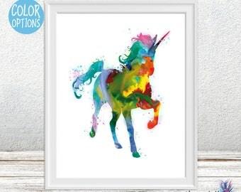 Fantasy art unicorn painting- Magical - Fantasy art- Watercolor print