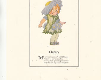 """1970s Reprint Print From E Gordon's Book Vegetable Children""""Chicory"""" 8"""" X 9.5"""" Excellent-High Quality Paper"""