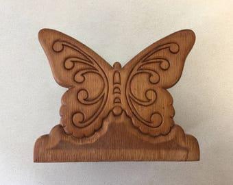 Wooden Butterfly Napkin or Letter Holder Vintage