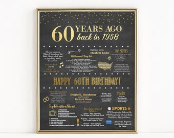 Printable 60th Birthday Chalkboard Sign, Back in 1958, Birthday Gift, Birthday Poster, 1958 Poster, Digital, Download, Sign, MB018