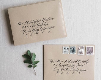 Envelope calligraphy addressing brush calligraphy modern