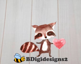 Raccoon Boy Valentine Heat Press Transfer