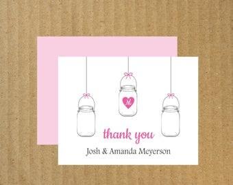 Mason Jar Thank You Cards, Set of 10, Wedding Mason Jar Thank You Cards, Mason Jar, Wedding Thank You Cards, Thank You Cards, Mason Jar Note