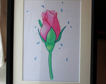 Giclee Print of Pink Rose in Watercolour