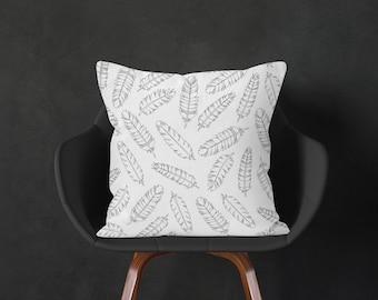 Feathers Cushion, Black White Throw Pillow, Bohemian Pillow Cover, Boho Cushion, Decorative Pillow, Accent Decor Cushion, 16x16 18x18 20x20
