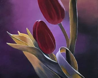 Painting on Canvas,Original Painting of Flowers, Acrylic Painting, Flower Painting, Landscape Painting, Wall Art, Canvas Art, Red, Purple