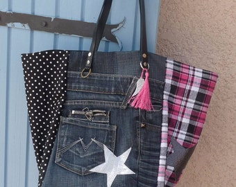 Pink tote bag checks/money/black polka dots/recycled denim Pocket star black leather handles