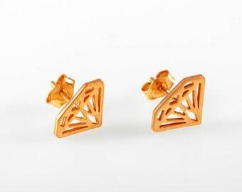Rose Gold Earrings , pink gold, Diamond silhouette earrings14K solid gold diamond shaped stud earrings, Gold diamond earring