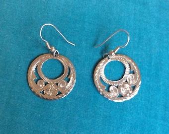 Vintage Mexican Sterling Silver Hoop Earrings *Signed*