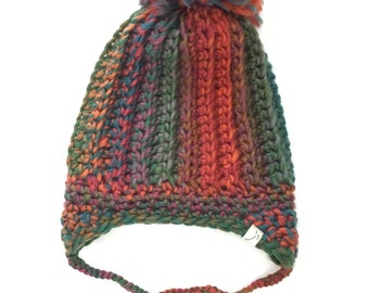 Earflap Hat - Rainbow/Multicolored with Pom Pom
