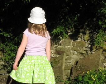 Girls green skirt, girls skirt, girls party skirt, girls everyday skirt, toddler skirt, girls cotton skirt, girls full skirt, skirt