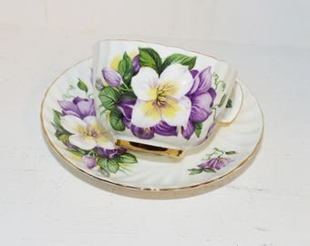 Crownford Teacup and Saucer Lavender Clematis -  1461