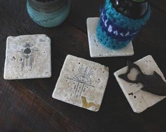 Bohemian Coaster Set Of 4, Dream Catcher Coasters, Stone Coaster Gift Set,  Boho
