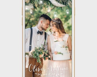 mason jar wedding snapchat filter, rustic wedding geofilter, string light snapchat filter, barn wedding snapchat filter, party geofilter