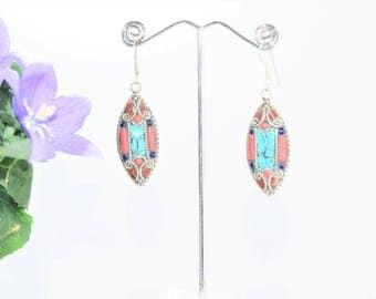Earrings Tibetan tribal boho with turquoise and coral stones
