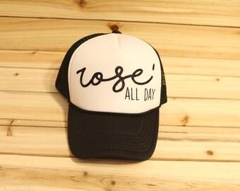 Rose' All Day Custom Trucker Hat- Trucker Hat- Wine Trucker Hat- Black Trucker Hat- Rose All Day- Birthday Present- Birthday Gift- Rose'