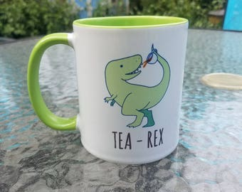 FREE SHIPPING - Tea Rex Mug - T-Rex Coffee Mug - Tea Mug - Birthday Gifts - Holiday Gifts - Hand Illustrated, Dinosaur, Dino, Pun, Trex Mug
