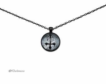 Necklace, inverted cross, black, cabochon, pentacle inverted, pentagram, goth, gothic, satanic, occult, satan, devil, satanism, baphomet