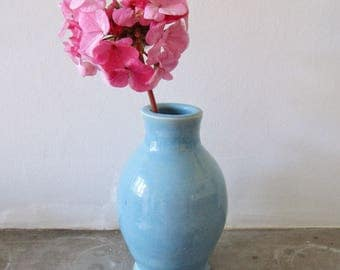 Stoneware Bottle Vase in Baby Blue - Bud Vase - Hand Thrown - Pottery - Home Decor - Art and Collectables - Something Blue - Aqua - Gifts