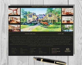 """Real estate flyer. Watercolor painting of house. Real estate brochure. 8,5x11"""""""