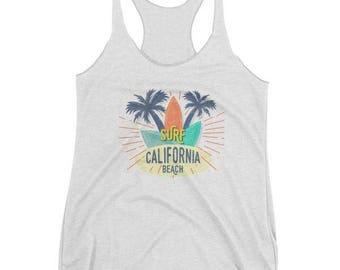Surf California Beach Women's Tank Top Summer Beach Tank Top Surfer Tank Top California Beach Tank Top Witty Novelty
