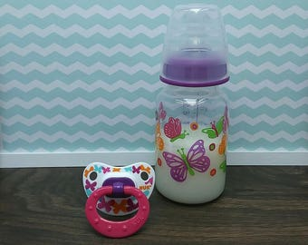 Reborn Bottles and Pacifier, Magnetic Pacifier, Putty Pacifier, Reborn Bottles Sealed with Fake Milk, Lifelike Baby Doll, Reborn Babies