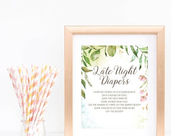 Late Night Diaper Printable Greenery Baby Shower Late Night Diapers Sign Baby Party Games Instant Download Custom Diaper Thoughts Game LB2