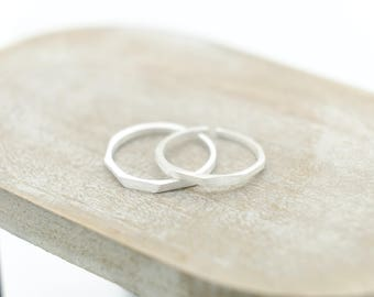 Simple Silver Ring with Brushed Finish