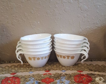 Set of 10 vintage Corelle hook handle gold butterfly coffee or tea cups.  White and gold retro cups.