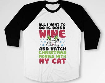 Funny Cat Gifts Ideas For Her Ugly Christmas T Shirt Holiday Clothing Xmas Outfits 3/4 Sleeve TShirt Christmas Raglan Baseball Tee TEP-540