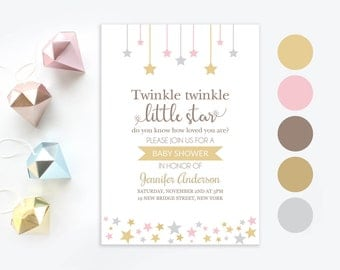 Twinkle twinkle little star baby shower invitation | Little star invite | Baby girl printable invitation | Baby shower personalized gold