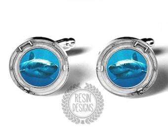 Shark Cufflinks, Great White Shark, Porthole, Handmade Cufflinks, White Shark, Ocean, Mens Gift, Blue Cufflinks, Gift for him, Mens Gift