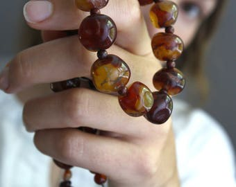 Carnelian Necklace Beaded . 17 inch Necklace . Stones for Creativity Necklace . Chunky Gemstone Necklace - Adirondack Collection NEW