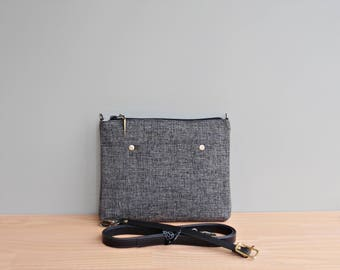 Crossbody Minimalist Tweed Purse in Charcoal Grey with Custom Leather Strap, Small Messenger Bag in Upcycled Tweed Fabric, Everyday Bag, USA